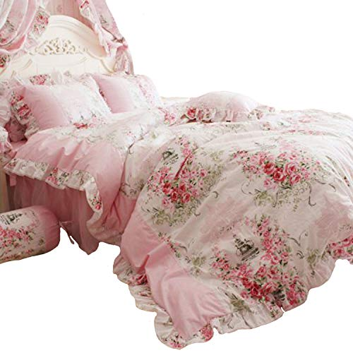 FADFAY Home Textile Pink Rose Floral Print Duvet Cover Bedding Set For Girls 4 Pieces Twin Size