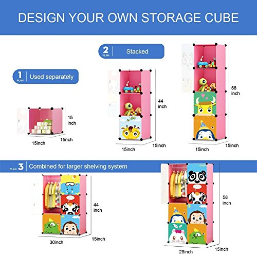 MAGINELS Children Wardrobe Kid Dresser Cute Baby Portable Closet Bedroom Armoire Clothes Hanging Storage Rack Cube Organizer, Large Pink 6 Cube & 1 Hanging Section