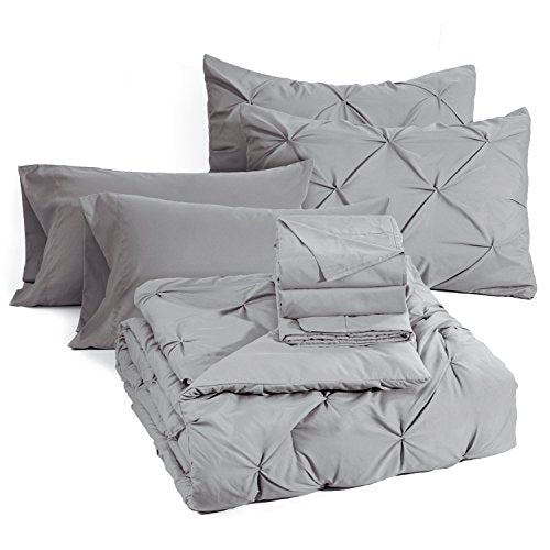 Bedsure 8 Pieces Pinch Pleat Down Alternative Comforter Set King Size (102X90 inches) Solid Grey Bed in A Bag (Comforter, 2 Pillow Shams, Flat Sheet, Fitted Sheet, Bed Skirt, 2 Pillowcases)