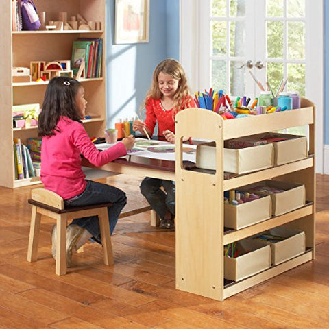 Guidecraft Deluxe Art Center: Drawing and Painting Table for Kids, W/ Two Stools, Craft Supplies Storage Shelves, Canvas Bins, Paper Roll – Preschool Toddler Wooden Learning Furniture