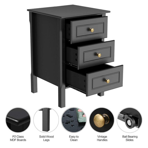 Yaheetech Black Gloss 3 Drawers Bedside Table Cabinet Stylish Nightstands with Antique Handle Bedroom Furniture