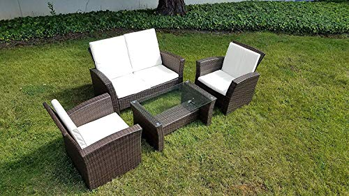 UFI 4pcs Patio Furniture Sets All Weather Indoor Outdoor Conversation Set Rattan Wicker Sofa with Cushion and Cofe Table Garden Yard Poolside Balcony RTA Furniture(Brown)