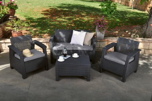 Keter Corfu 4 Piece Set All Weather Outdoor Patio Garden Furniture w/ Cushions, Charcoal