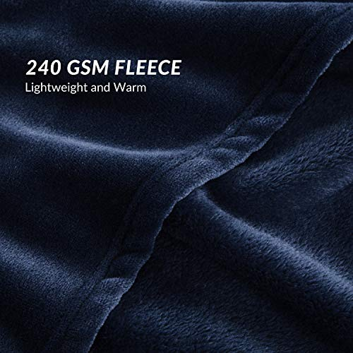 Bedsure Flannel Fleece Luxury Blanket Navy King Size Lightweight Cozy Plush Microfiber Solid Blanket