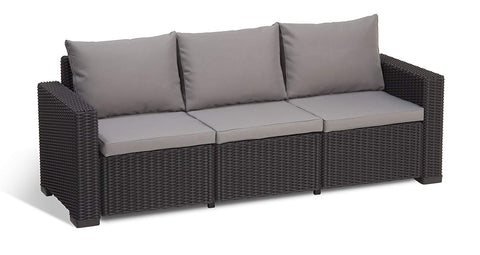 Keter California 3-Seater Seating Patio Sofa with Cushions in a Resin Plastic Wicker Pattern, Graphite/Cool Grey