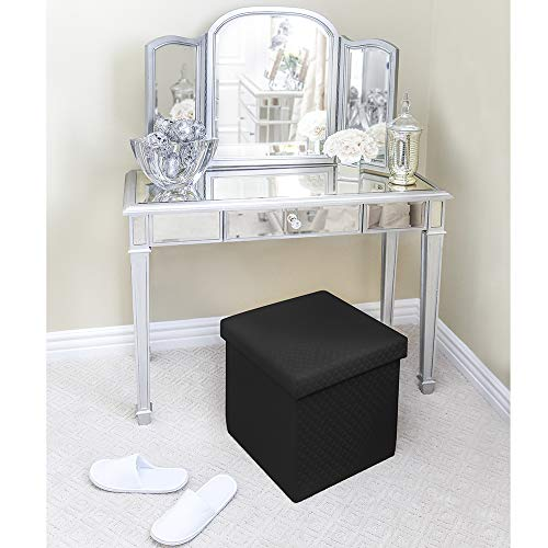 "Seville Classics WEB284 31.5"" Foldable Storage Bench Footrest Toy Chest Coffee Table Ottoman, Single, Charcoal Gray"