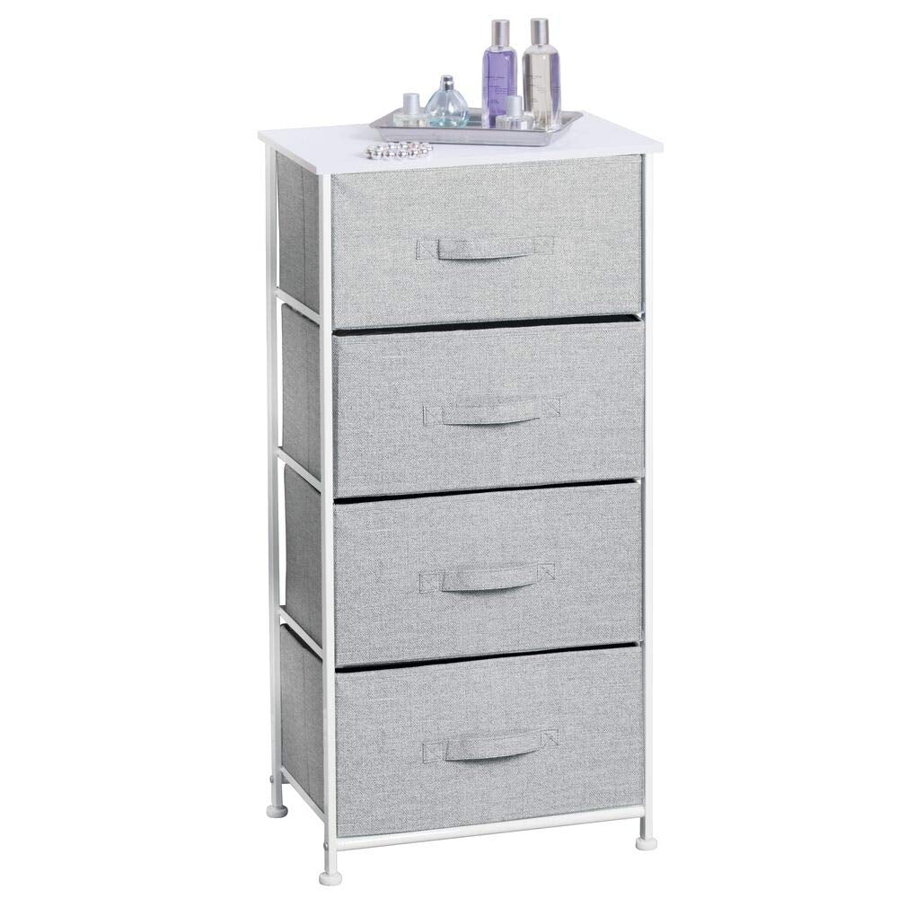 mDesign Vertical Dresser Storage Tower - Sturdy Steel Frame, Wood Top, Easy Pull Fabric Bins - Organizer Unit for Bedroom, Hallway, Entryway, Closets - Textured Print - 4 Drawers - Charcoal Gray/Black