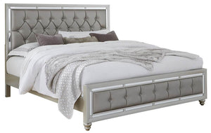 Global Furniture USA KB Riley Tufted Bed, King, Silver
