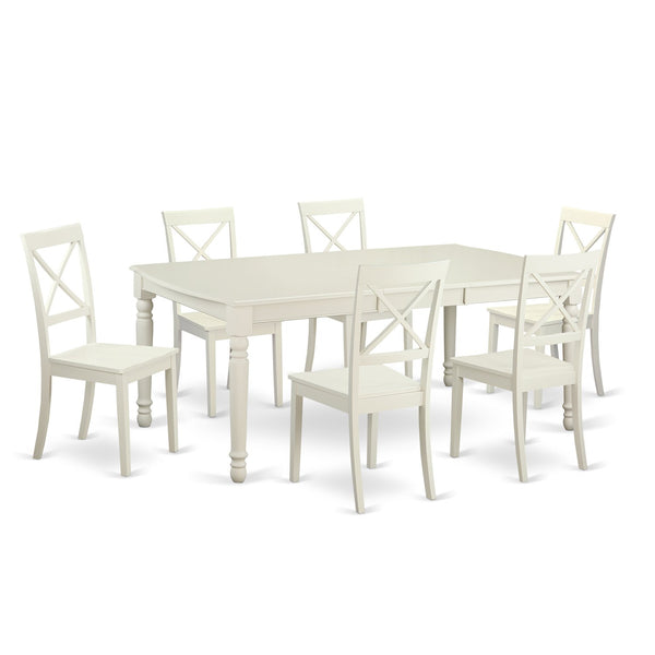 East West Furniture DOBO7-LWH-W 7 Piece Dinette Table and 6 Dining Room Chairs