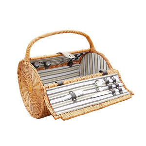 Rattan Picnic Basket Family Travel Outdoor Storage Basket Barrel Picnic Box Portable Picnic Bag (Color : Natural)