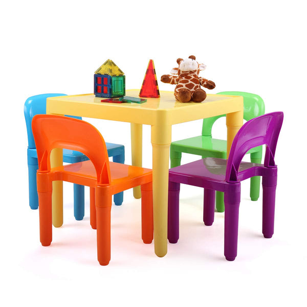 Kids Plastic Table and Chair Set Learn and Play Activity School Home Furniture for Toddler Children Aged 30-96 Months