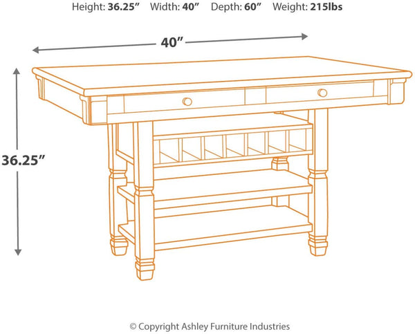 Ashley Furniture Signature Design - Bolanburg Counter Height Dining Room Table - Antique White