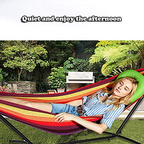 TechFaith Double Hammock Two Person Adjustable Hammock Bed with Space Saving Steel Stand Includes Portable Carrying Case, Easy Set Up (Light Brown/White)