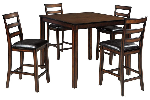 Ashley Furniture Signature Design - Coviar Counter Height Dining Room Table and Bar Stools (Set of 5) - Brown