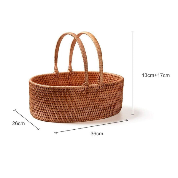 Kylinyyl Picnic Basket Natural Woven Woodchip | Easter Basket | Storage of Plastic Easter Eggs and Easter Candy | Organizer Blanket Storage | Bath Toy and Kids Toy Storage