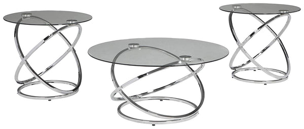 Ashley Furniture Signature Design - Hollynyx Contemporary 3-Piece Table Set - Includes Cocktail Table & Two End Tables - Chrome Finish