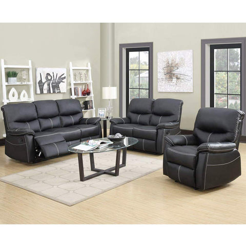 Recliner Sofa Leather Set 3 PCS Motion Sofa Loveseat Recliner Leather Sofa Recliner Couch Manual Reclining Chair 3 Seater for Living Room