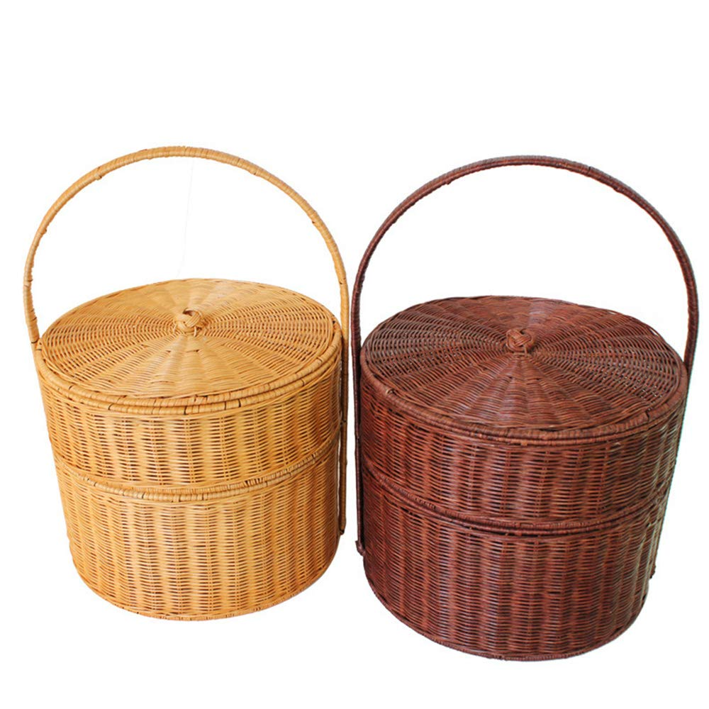 Vlook 2Pcs Double-Decker Picnic Baskets, Rattan Picnic Basket, with Handmade Handle, Natural Environmental Protection, Multifunction, for Outing Barbecue