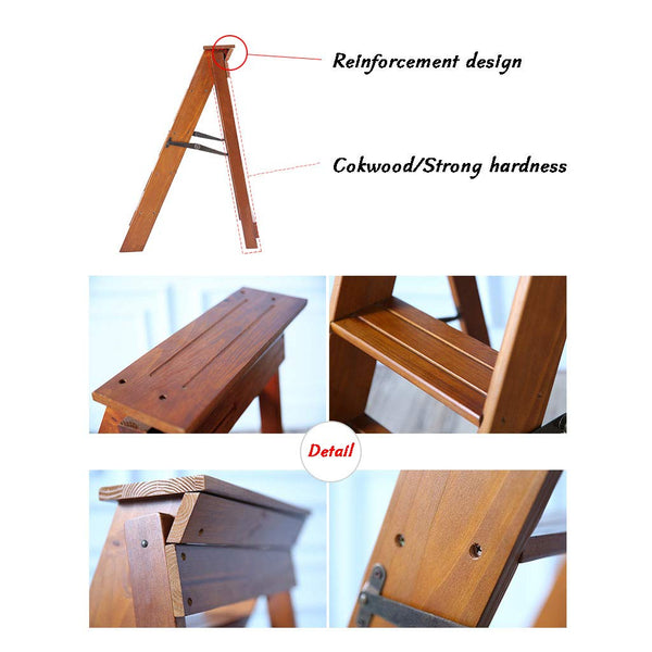 Wooden Step Ladders Folding Stool,5-Steps,Multifunction Climb Ladder Shelf,for Kitchen/Office/Library Stepladder,Wood Color