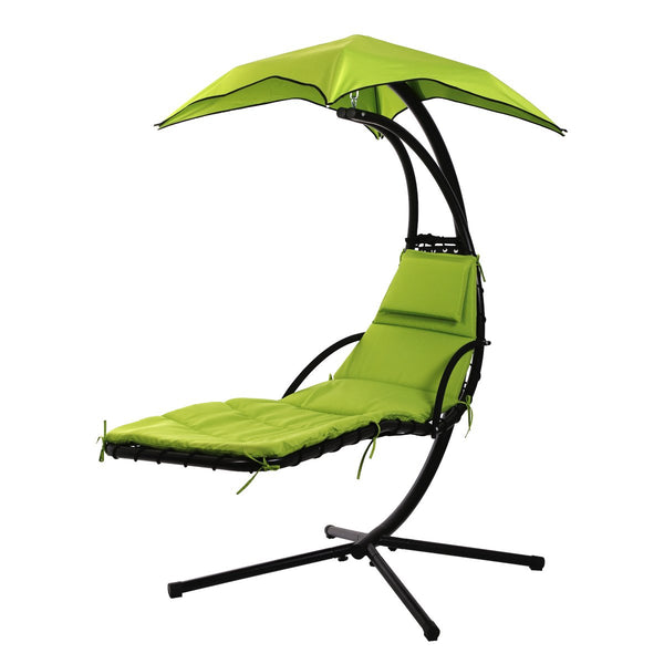 Hammock Lounge Chair, Outdoor Curved Hanging Chaise Swing with Metal Stand, Foam Cushion, Removable Canopy for Backyard Patio Garden (Green)