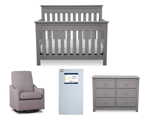 Delta Children Chalet 4-Piece Mix & Match Nursery Furniture Set (Convertible Crib, Dresser, Glider, Crib Mattress), Grey