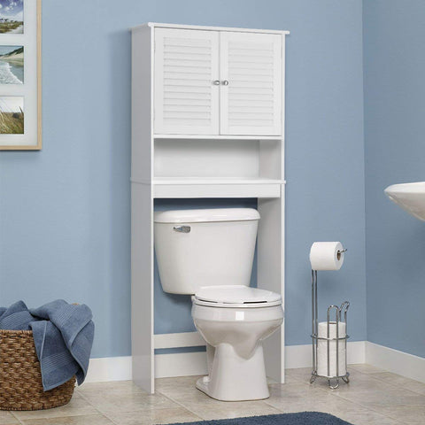 Giantex Bathroom Over-The-Toilet Space Saver Storage with Shelf and 2-Door Cabinet, White