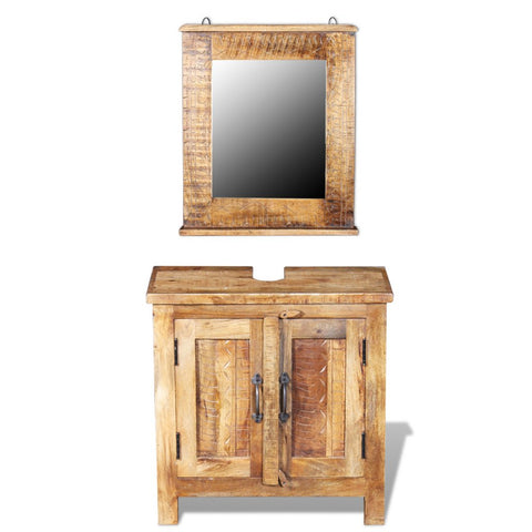 Festnight 24 Inches Bathroom Vanity Set Solid Reclaimed Wood Cabinet with Square Mirror Set Pure Handmade