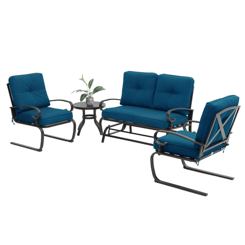 Incbruce 4Pcs Outdoor Patio Furniture Conversation Sets (Loveseat, Bistro Table, 2 Spring Chair) -Swing Glider Rocking Patio Bench and Spring Metal Lounge Chairs Sets with Peacock Blue Cushions