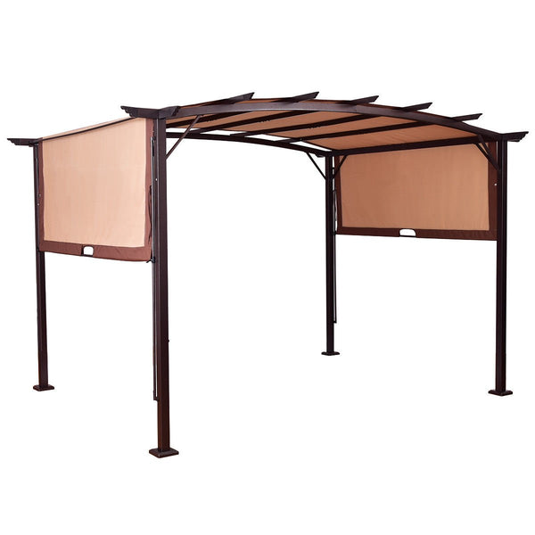 BUY JOY 12' x 9' Pergola Kit Metal Frame Gazebo &Canopy Cover Patio Furniture Shelter