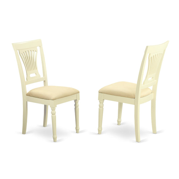 East West Furniture PVC-WHI-W Kitchen/Dining Chair Set Wood Seat, Buttermilk/Cherry Finish, Set of 2