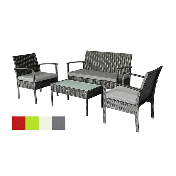 Oakside Outdoor Furniture Set 4Pc Patio Seating Wicker Sofa Rattan Chair with All Weather Cushions for Lawn Garden Poolside Backyard Porch