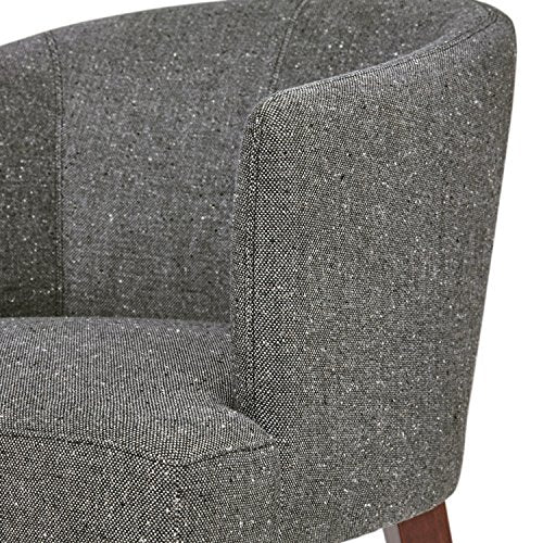 "Rivet Alfred Mid-Century Modern Upholstered Wide Curved Back Accent Kitchen Dining Room Chair, 25.2""W, Felt Grey"