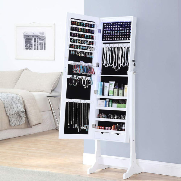 GISSAR Jewelry Organizer Full Length Mirror Jewelry Cabinet Standing/Wall Mounted Jewelry Armoire Storage with Lights Lockable White