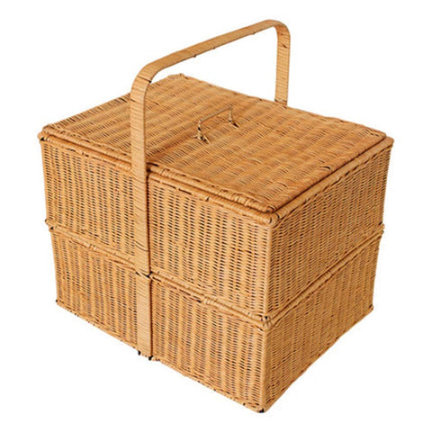 Kitchen Supplies Outdoor Double-Layer Shopping Basket Wild Outing Food Storage Basket Storage Basket Storage Basket Picnic Basket Tool Accessories (Color : Yellow)