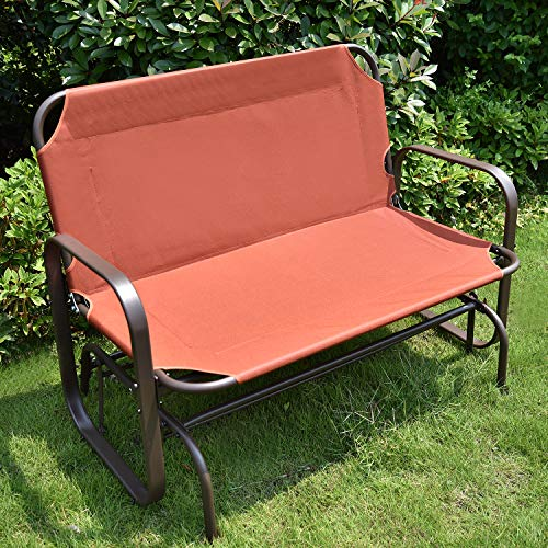 YU YUSING Outdoor Glider Chair for 2 Person, Patio Swing Garden Loveseat, Rocking Seating Textilene & Stable Steel Frame (Dark Grey)