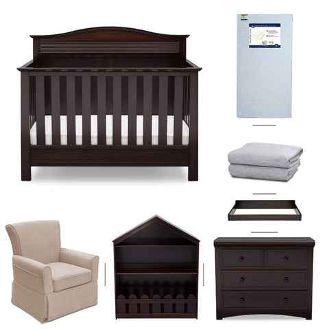 Serta Barrett 7-Piece Nursery Furniture Set - Convertible Crib, Dresser, Changing Top, Bookcase, Crib Mattress, Glider, Crib Sheets - Grey