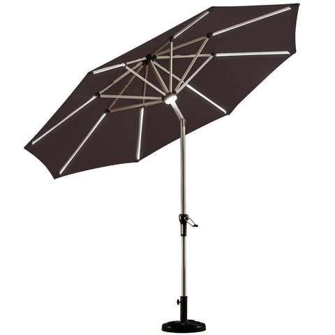 PURPLE LEAF 9 Feet Solar Powered LED Lighted Patio Umbrella with Push Button Tilt and Crank Outdoor Market Umbrella Garden Umbrella, Green