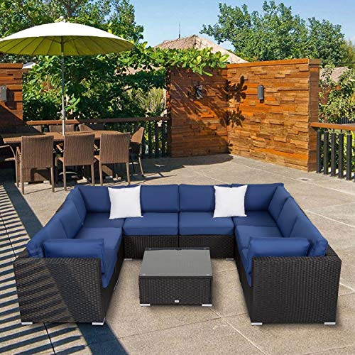 Kinsunny Peach Tree 9 PCs Outdoor Patio PE Rattan Wicker Sofa Sectional Furniture with 2 Pillows and Tea Table