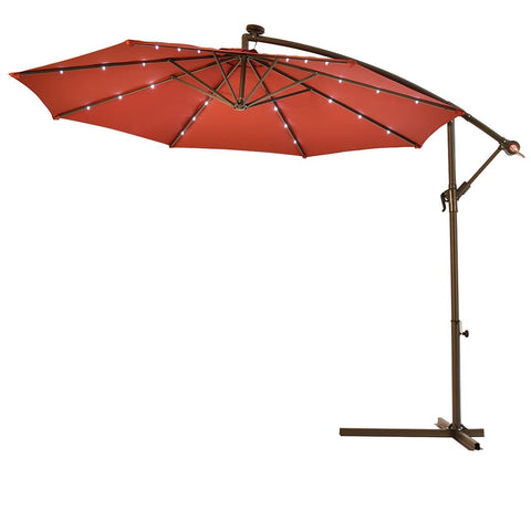 Lotus Analin 10' Hanging Solar LED Umbrella Patio Sun Shade Offset Market W/Base Burgundy