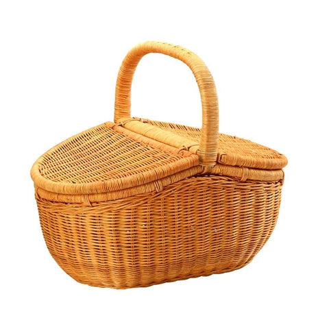 Kylinyyl Country Style Wicker Picnic Basket with Folding Handles & Liners | Measures for Picnics, Parties and BBQs (Size : 46x32x41cm)