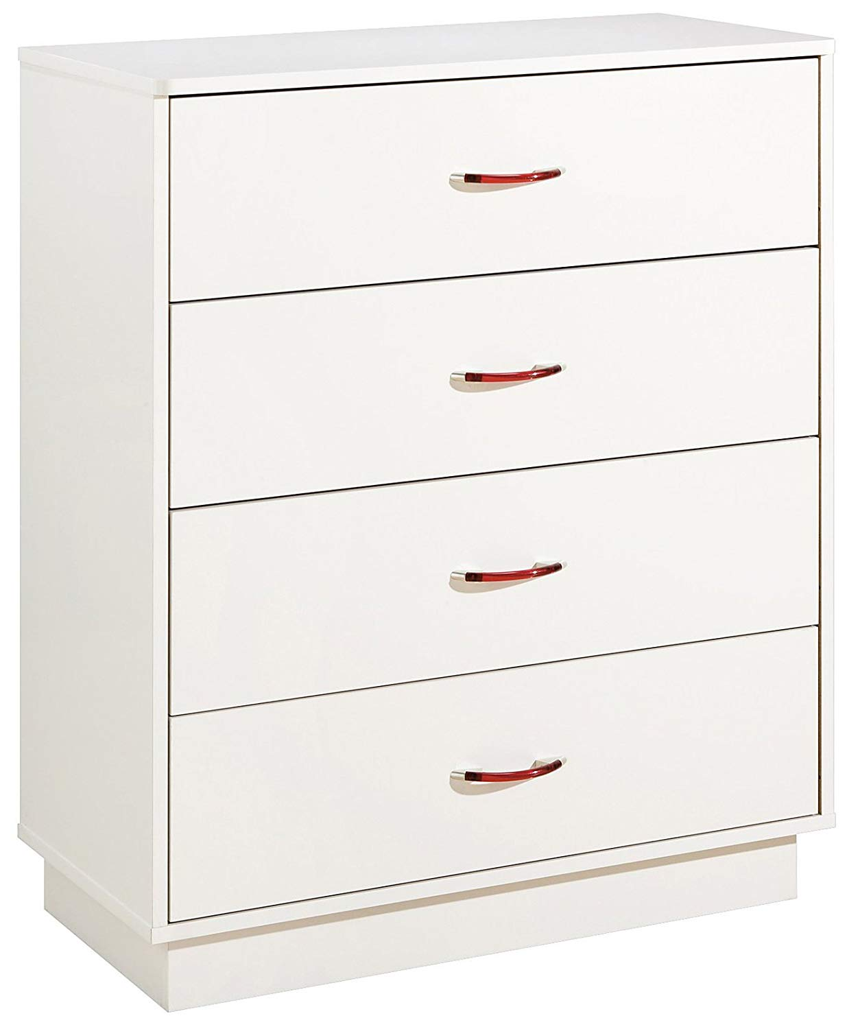 South Shore Logik 4-Drawers Chest, Pure White/Pink