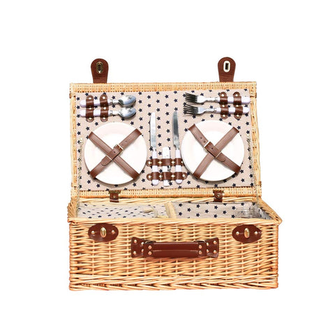 4 Picnic Basket for Person|Rattan Outdoor Picnic Basket|Covered Camping Supplies with Insulation Bag/Knife Fork/Red Wine Glass/Plate Have A Sweet Time with You