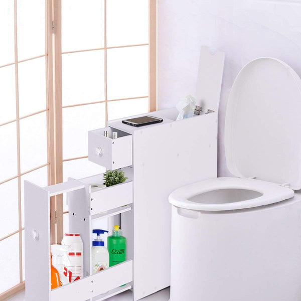 Tangkula Bathroom Wood Storage Cabinet Home Kitchen Floor Storage Organizer with Slide Out Drawer Free Standing Space Saving Storage Cabinet Toilet Paper Holder, White