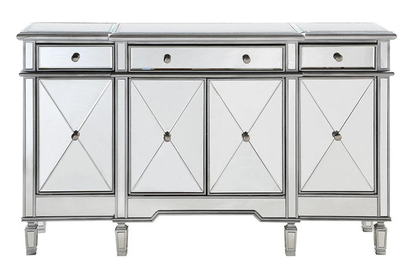 "Decor Central ADMFX6-3003SC Cabinet with 3 Drawers, 3 Shelves & 4 Doors, 60"", Hand Rubbed Antique Silver Finish"