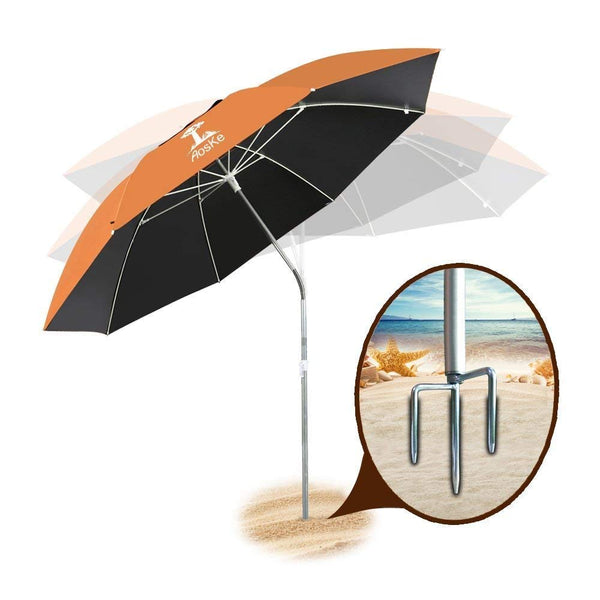 AosKe Portable Sun Shade Umbrella, Inclined, Heat Insulation, Resistance to 100% Harmful Sunlight, Commonly Used in Patio, Beach, Fishing Essential - Orange