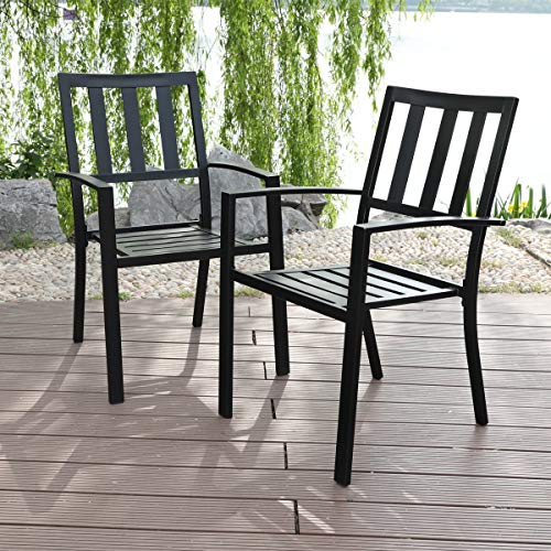 PHI VILLA 2 Piece Patio Wrought Iron Dining Seating Chair - Supports 300 LBS
