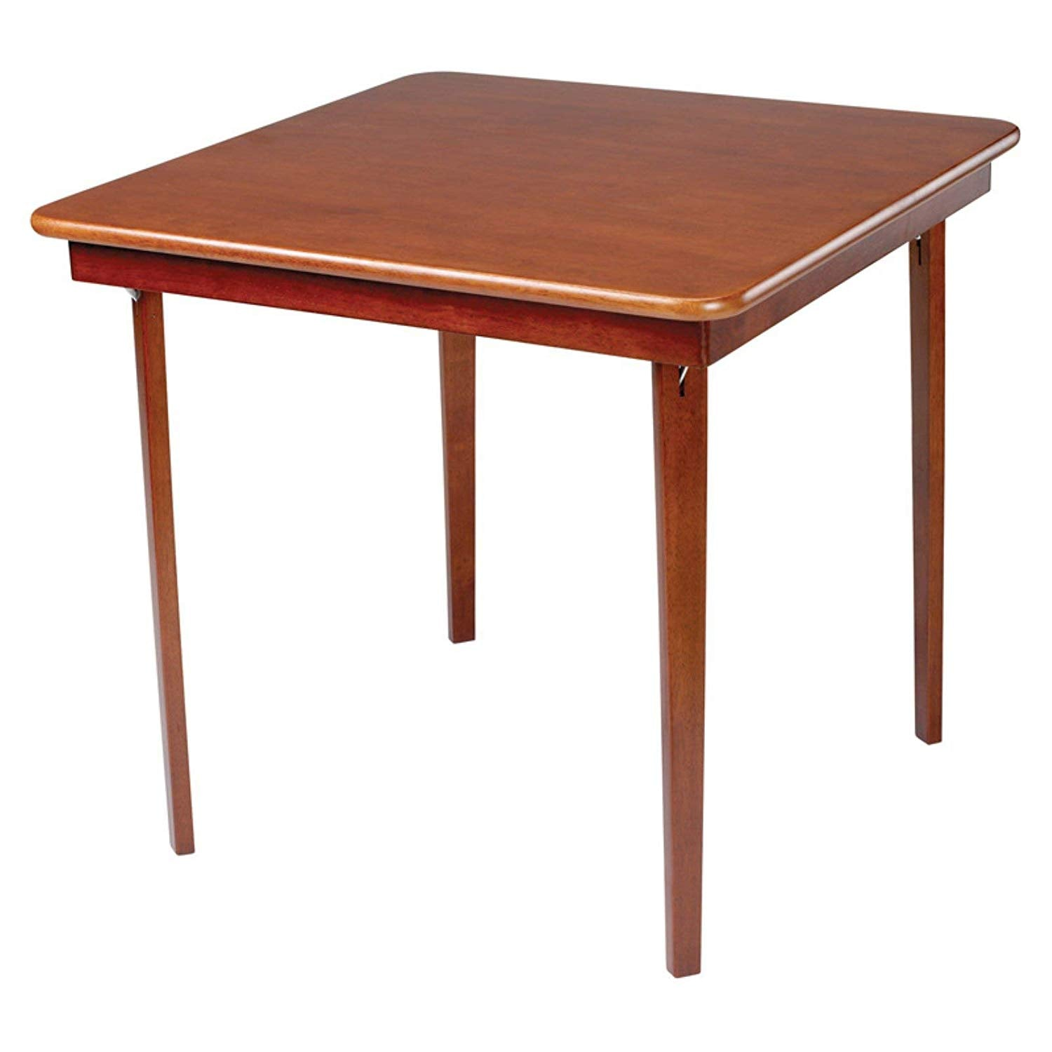 MECO 0056.00791 STAKMORE Straight Edge Folding Card Table Cherry Finish,