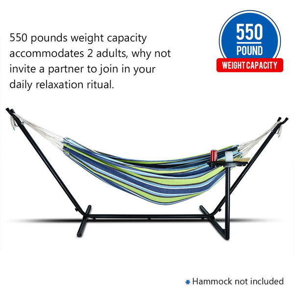 Zupapa Portable 10 Feet Hammock Stand with Cup Holder Accessory Tray, Space Saving Steel Hammock Stand Indoor Outdoor Patio 550lbs Weight Capacity