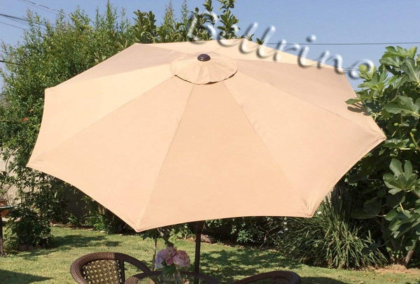 BELLRINO DECOR Replacement Taupe Strong and Thick Umbrella Canopy for 9ft 8 Ribs Taupe (Canopy Only) (BEIGE-98)