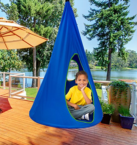 Sorbus Kids Nest Swing Chair Nook – Hanging Seat Hammock for Indoor Outdoor Use – Great for Children, All Accessories Included, 33 Inch (33 Inch, Nest Blue)